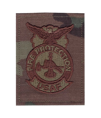 US Air Force Fire Protection OCP Spice Brown Badge with Hook Fastener - Insignia Depot