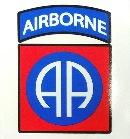 82nd Airborne Reverse Window Vinyl Decal 3.25in x 3.5in - Insignia Depot