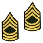 E8 Master Sergeant Gold on Green Sew-on - Large-Male - Insignia Depot