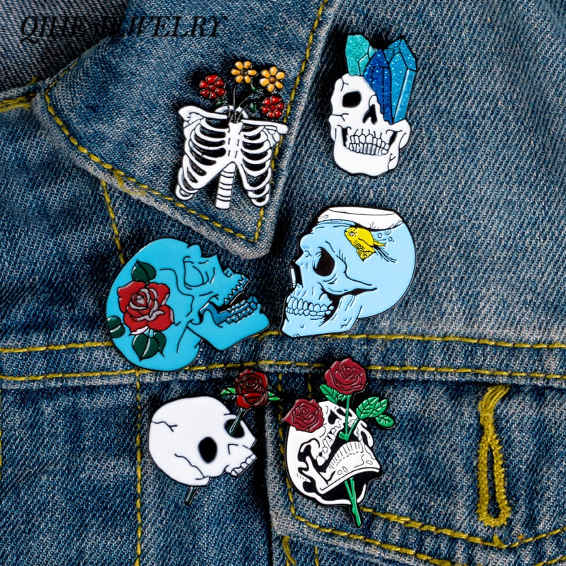 Blue Skull Enamel Pins Collection