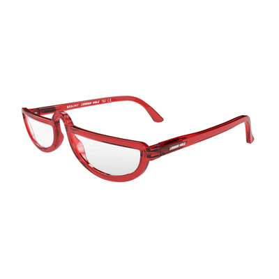 Open and skewed view of the London Mole Brainy Blue Blocker Glasses in Transparent Red