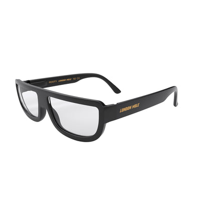 Side angle of Feisty reading glasses in Black by London Mole
