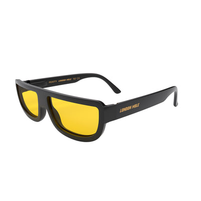 Side view of Feisty Sunglasses by London Mole with Black frames and Yellow Lens