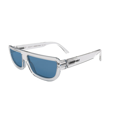 Side view of Feisty Sunglasses by London Mole with Transparent frames and Blue Lenses