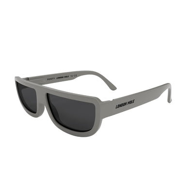 Side view of Feisty Sunglasses by London Mole with grey frames and Black Lens