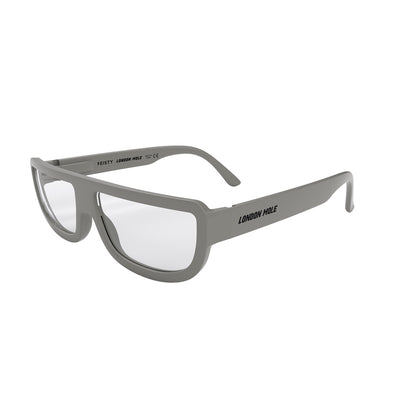 Skew view of Feisty Blue Blocker glasses in grey by London Mole