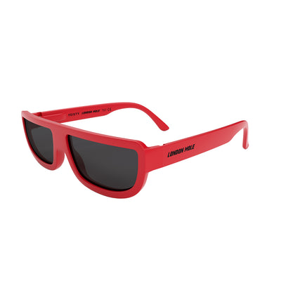 Side view of Feisty Sunglasses by London Mole with Red frames and Black Lens