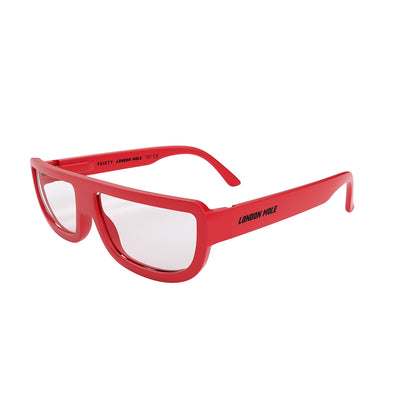 Side view of Feisty Blue Blocker glasses by London Mole with Red frames