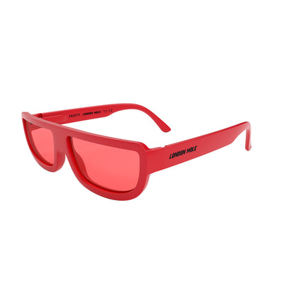 Side view of Feisty Sunglasses by London Mole with Red frames and Red Lenses