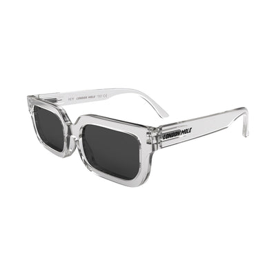 Side view of Icy Sunglasses by London Mole with Transparent Frames and Black Lenses