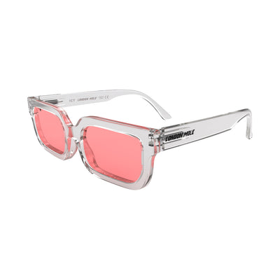 Side view of Icy Sunglasses by London Mole with Transparent Frames and Red Lenses