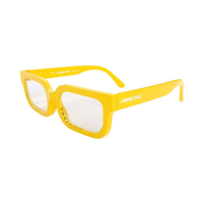 Side view of Icy Blue Blocker Glasses by London Mole with Yellow Frames