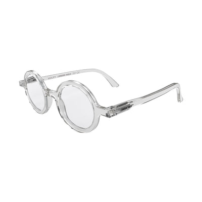 Side view of Moley Reading Glasses by London Mole with Transparent Frames.