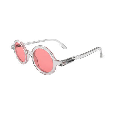 Side view of Moley Sunglasses by London Mole with Transparent Frames and Red Lenses