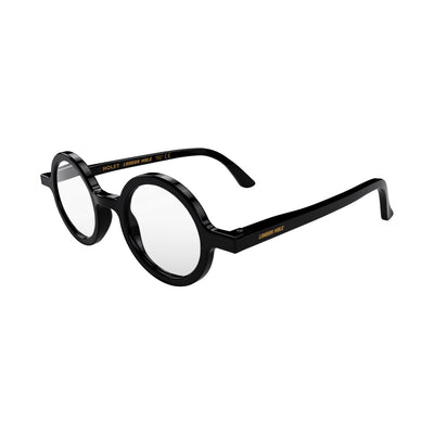 Open skew view of the London Mole Moley Reading Glasses in Gloss Black
