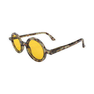 Side view of Moley Sunglasses by London Mole with Grey tortoise Shell Frames and Yellow Lenses