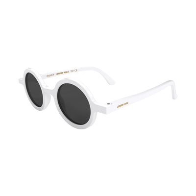 Side view of Moley Sunglasses by London Mole with white Frames and black Lenses