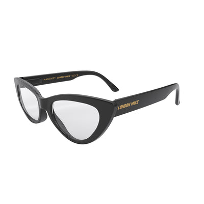 Side view of Naughty Reading Glasses by London Mole with Black Frames.