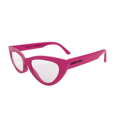 Side view of Naughty Blue Blocker Glasses by London Mole with Pink Frames.