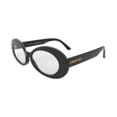 Side view of Nifty Reading Glasses by London Mole with Black Frames.