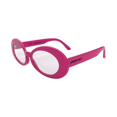 Side view of Nifty Blue Blocker Glasses by London Mole with Pink Frames.