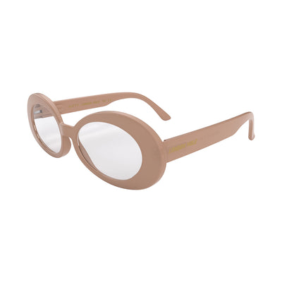 Side view of Nifty Blue Blocker Glasses by London Mole with Soft Pink Frames.