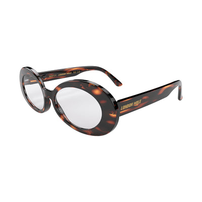 Side view of  Nifty Reading Glasses by London Mole with Gloss Tortoise Shell Frames.