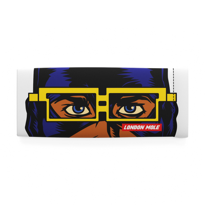 Night Vision glasses pouch with male superhero comic strip design – front on
