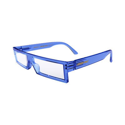 Open skew view of the London Mole Spacey Reading Glasses in Transparent Blue