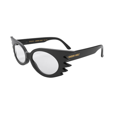 Side view of Speedy Reading Glasses by London Mole with Black Frames.