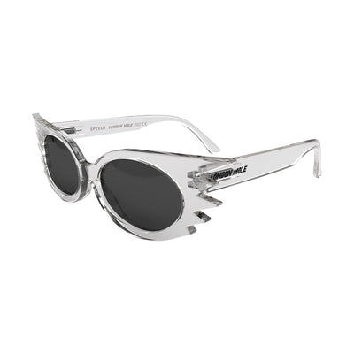 Side view of Speedy Sunglasses by London Mole with Transparent Frames and black Lenses