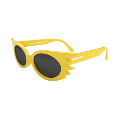 Side view of Speedy Sunglasses by London Mole with Yellow Frames and Black Lenses