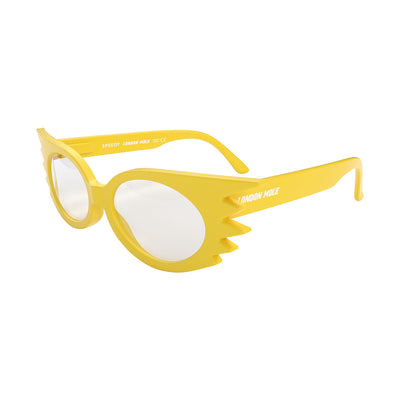 Side view of Speedy Blue Blocker Glasses by London Mole with Yellow Frames.