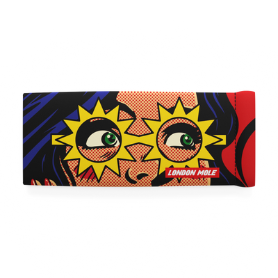 Sunflash glasses pouch with female superhero comic strip design – front on