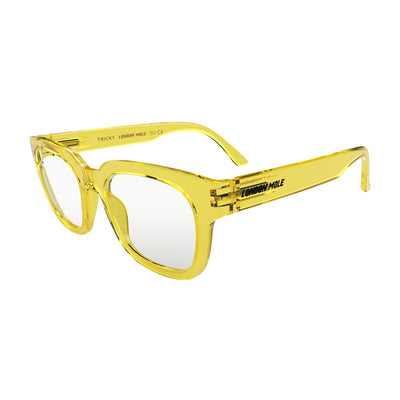 Open skew view of the London Mole Tricky Reading Glasses in Transparent Yellow