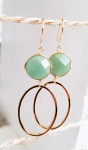 Green aventurine gold oval earring