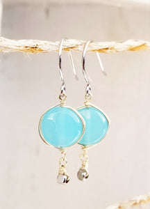 Aquamarine silver dangle earring