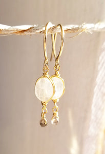 Moonstone minimalist gold earring