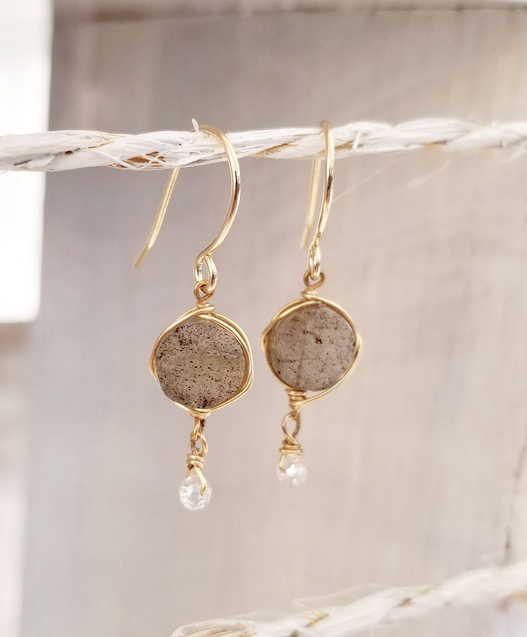 Labradorite gem stone gold dangle earring