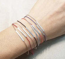 Load image into Gallery viewer, Silver bar Silk cord bracelets