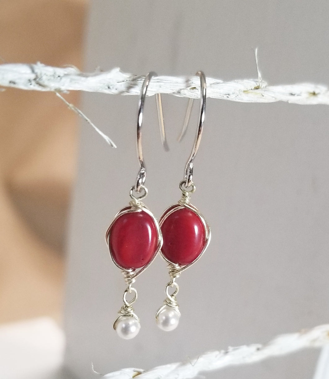 Red coral minimalist earring