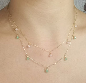 Chrysoprase dangle necklace / Rose quarts dangle necklace