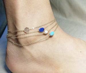 Gemstone gold anklets