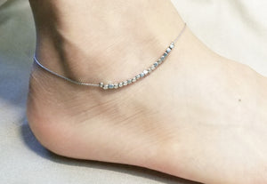 Mini square metal bead anklet