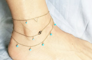 Mini triangle gold anklet / Evil eye anklet / Turquoise dangle anklet