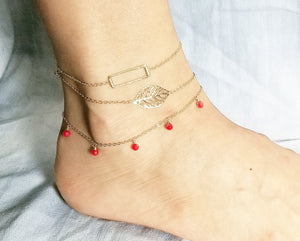 Rectangle anklet / Leaf anklet / Red coral dangle anklet