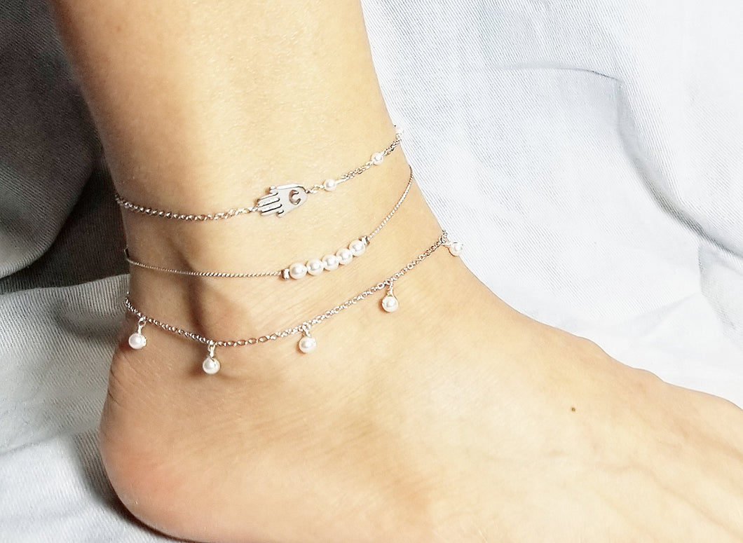 Hamsa with pearl anklet / Bar white pearl anklet / White pearl dangle earring