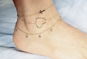 Side-way cross anklet / Heart anklet / Labradorite dangle anklet