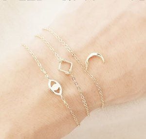 Evil eye bracelet / Mini square bracelet / Moon bracelet
