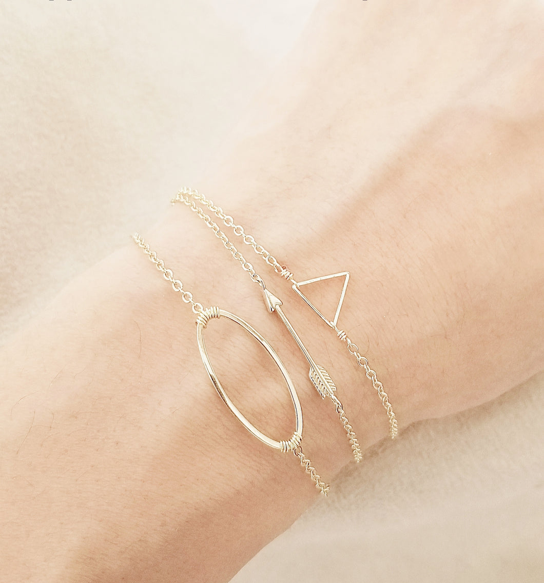 Arrow bracelet / Triangle bracelets / Oval shape bracelet